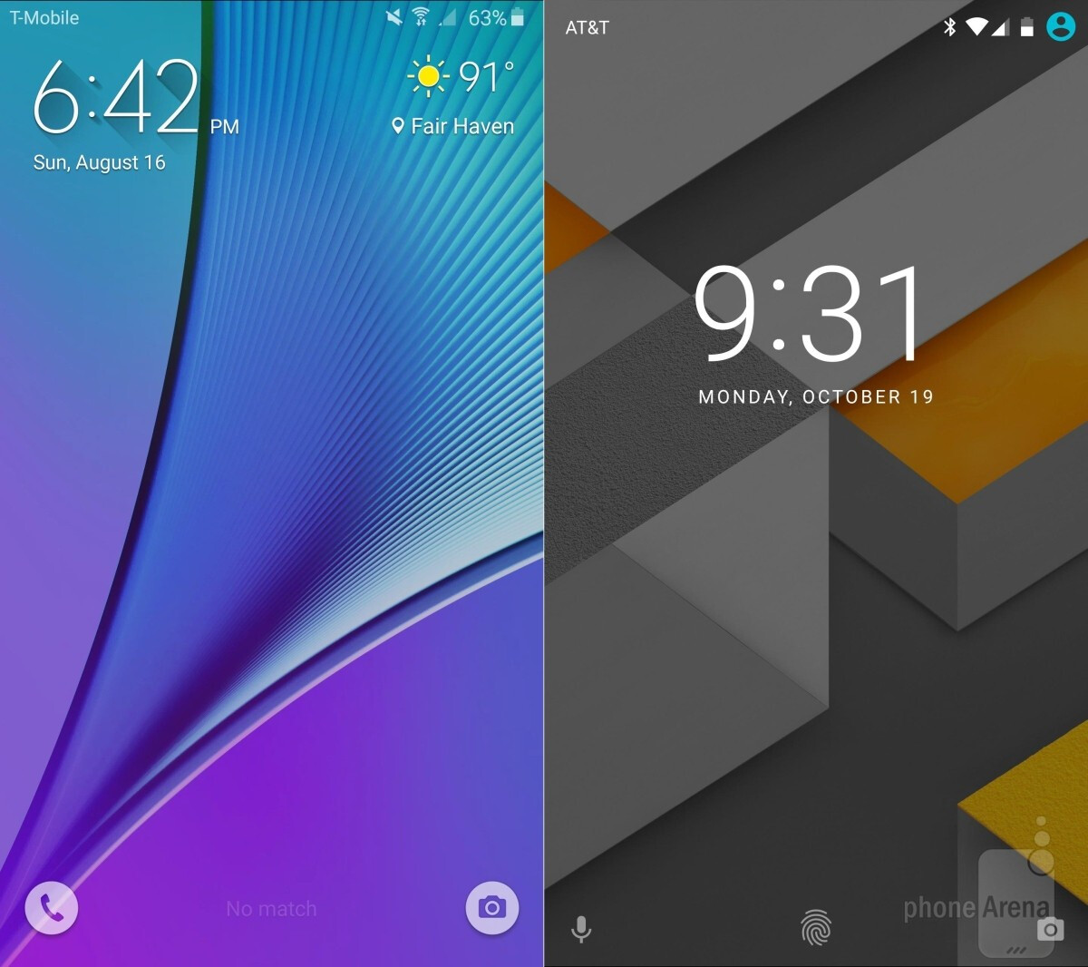 Note 5 (left) vs Nexus 6P (right)