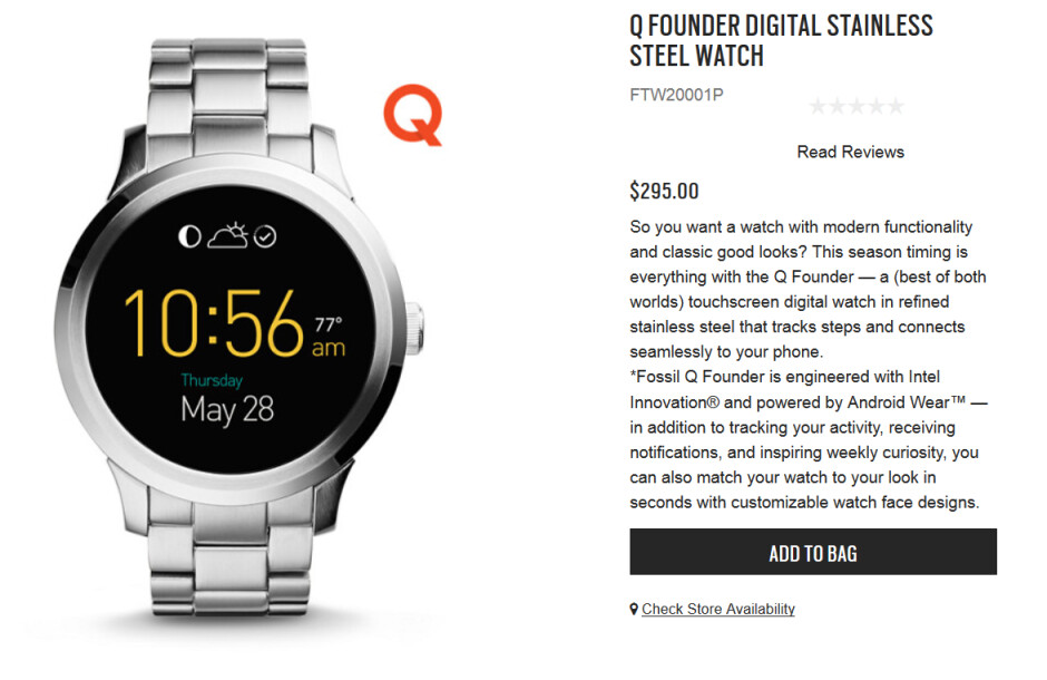 """The Fossill Q Founder smartwatch is now on sale - Fossil Q Founder smartwatch launches with a """"flat tire"""" and $295 price tag"""