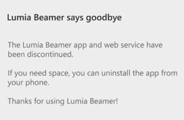 Last update to Lumia Beamer shuts the app - Lumia Beamer's final update closes down the app