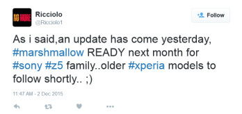 Tweet from tech journalist Ricciolo says that the Sony Xperia Z5 line will be updated to Android 6.0 next month