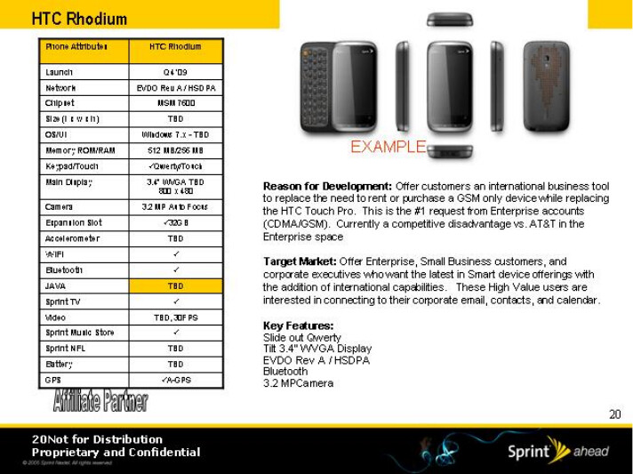 HTC Rhodium - Sprint's roadmap for 2009 has leaked