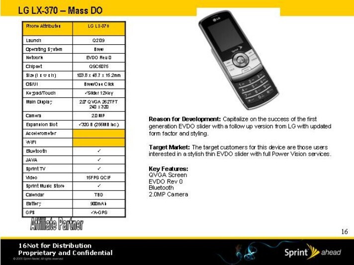 LG LX-370 - Sprint's roadmap for 2009 has leaked