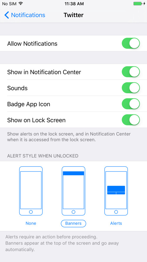 Once you tap on it, you will see something like the screen here. You can disable notifications by sliding the up-most toggle so that it is no longer green. Keep in mind that in the bottom part, you can also adjust how notifications look (if you want to receive notifications)