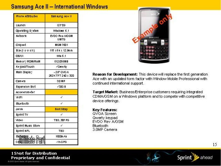 Samsung Ace II - Sprint's roadmap for 2009 has leaked
