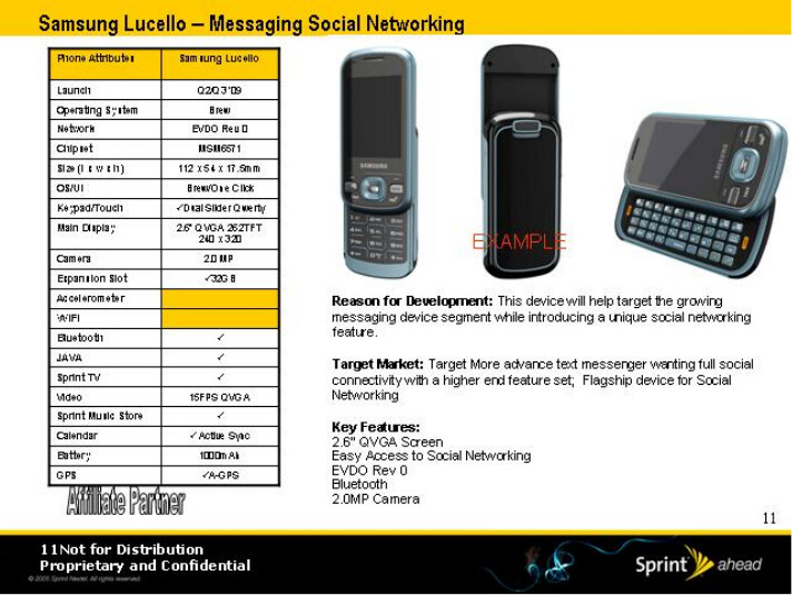 Samsung Lucello - Sprint's roadmap for 2009 has leaked
