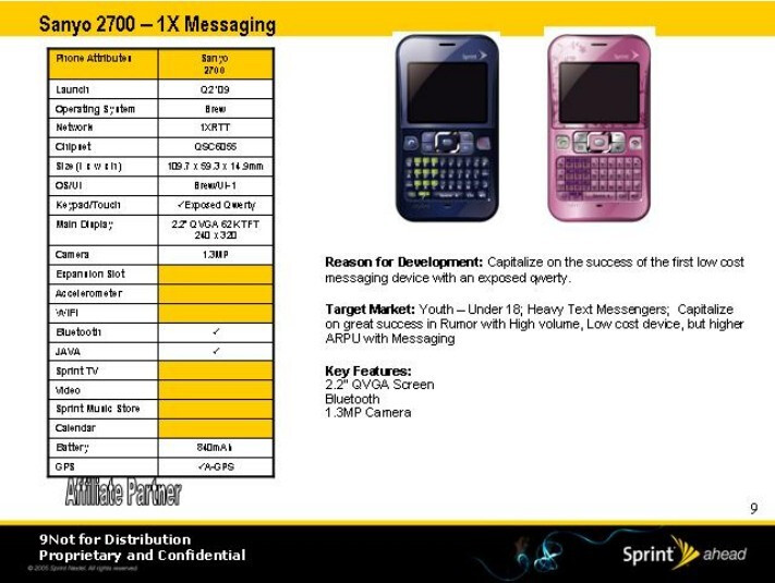 Sanyo 2700 - Sprint's roadmap for 2009 has leaked
