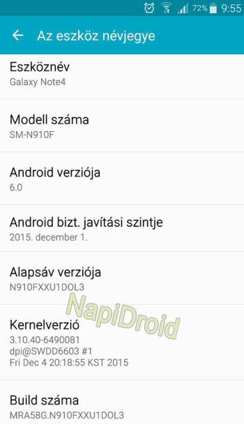 The unlocked Samsung Galaxy Note 4 has been updated to Android 6.0 in Hungary