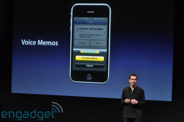 Voice Memos - Apple previews iPhone 3.0 software