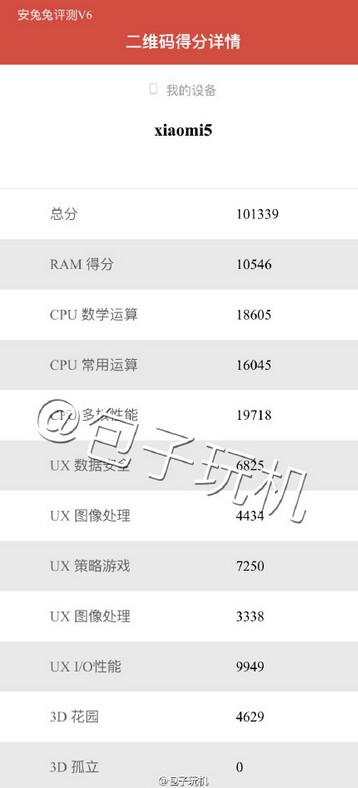 Xiaomi Mi 5 scores high on AnTuTu - Xiaomi Mi 5 powered by the SD-820 SoC posts a six-figure score on AnTuTu (UPDATE)