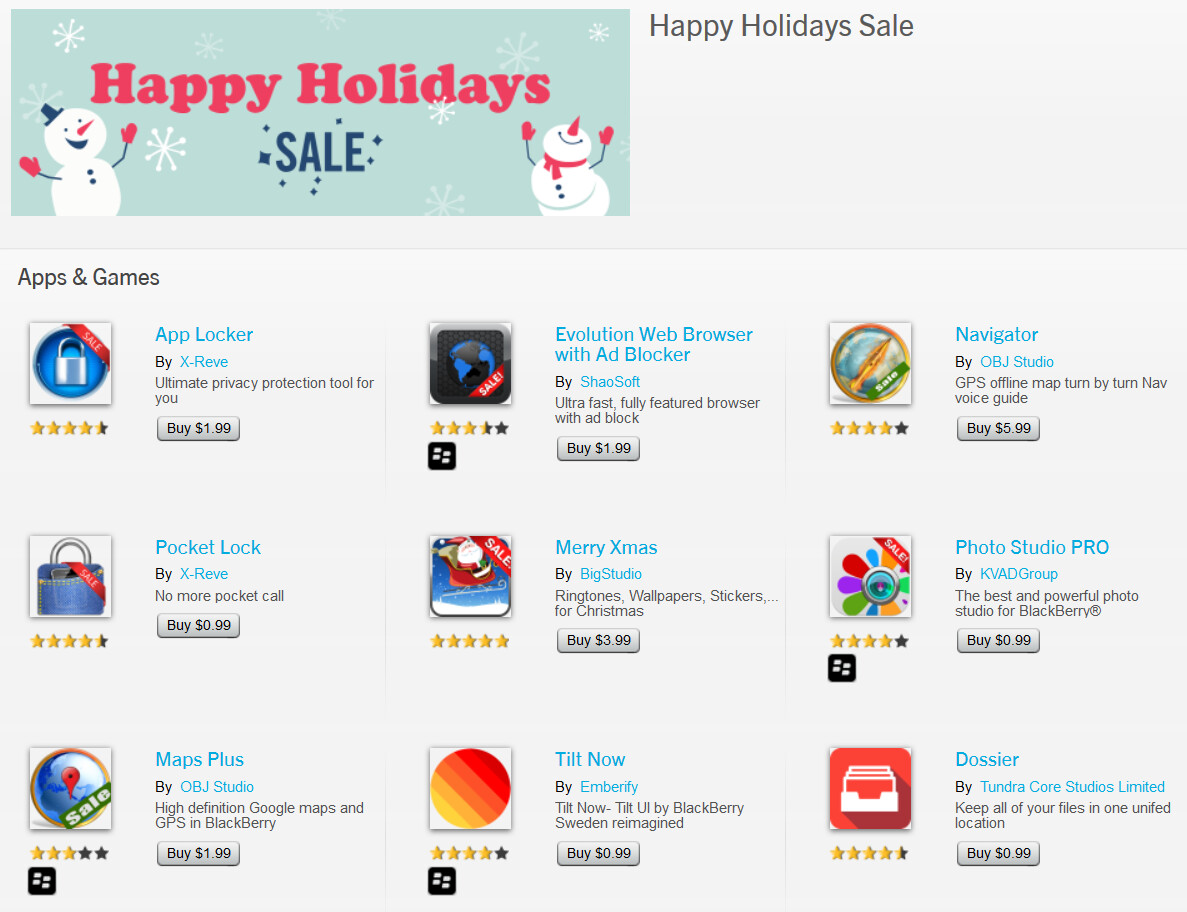 Selected blackberry 10 apps on sale for the holidays at blackberry world blackberry world has a number of apps on sale for blackberry 10 gumiabroncs Gallery