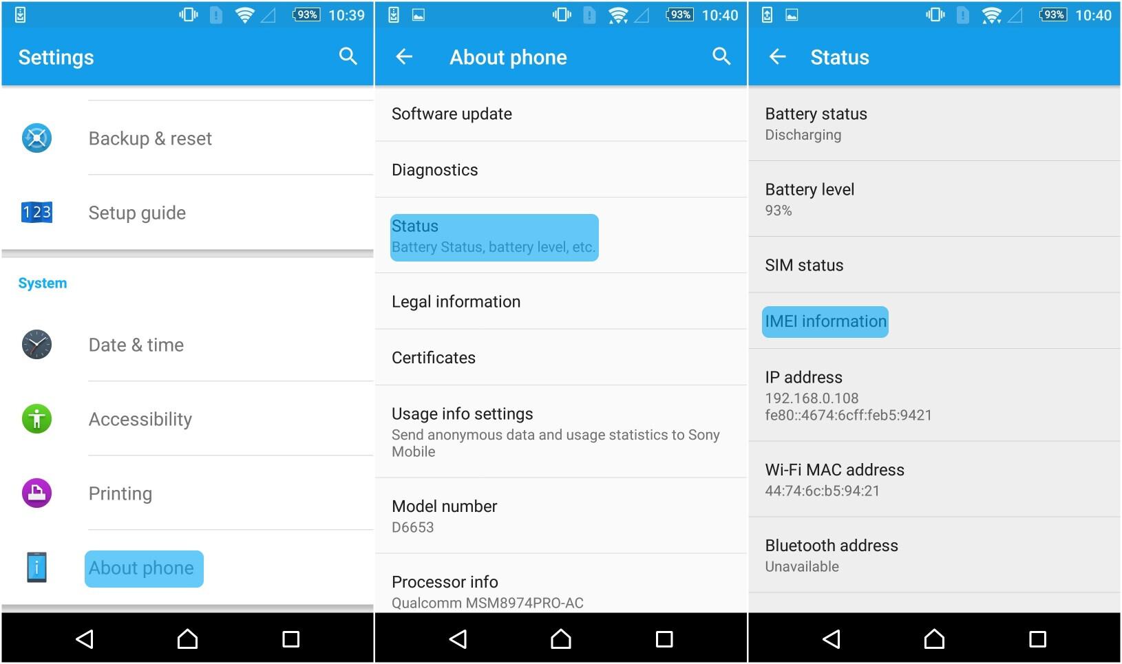 Android phone menu
