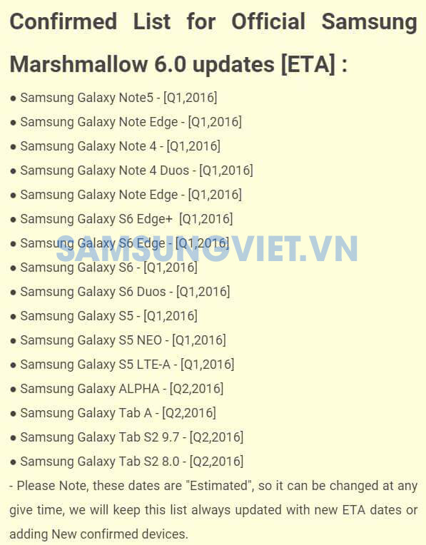 Samsung's latest Marshmallow update schedule leak reveals Note 5 moved to Q1