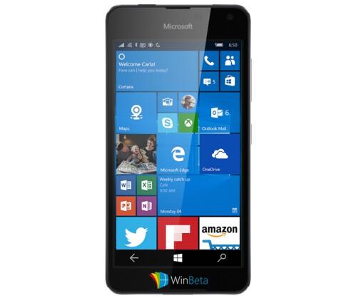 Microsoft Lumia 650 in white and black