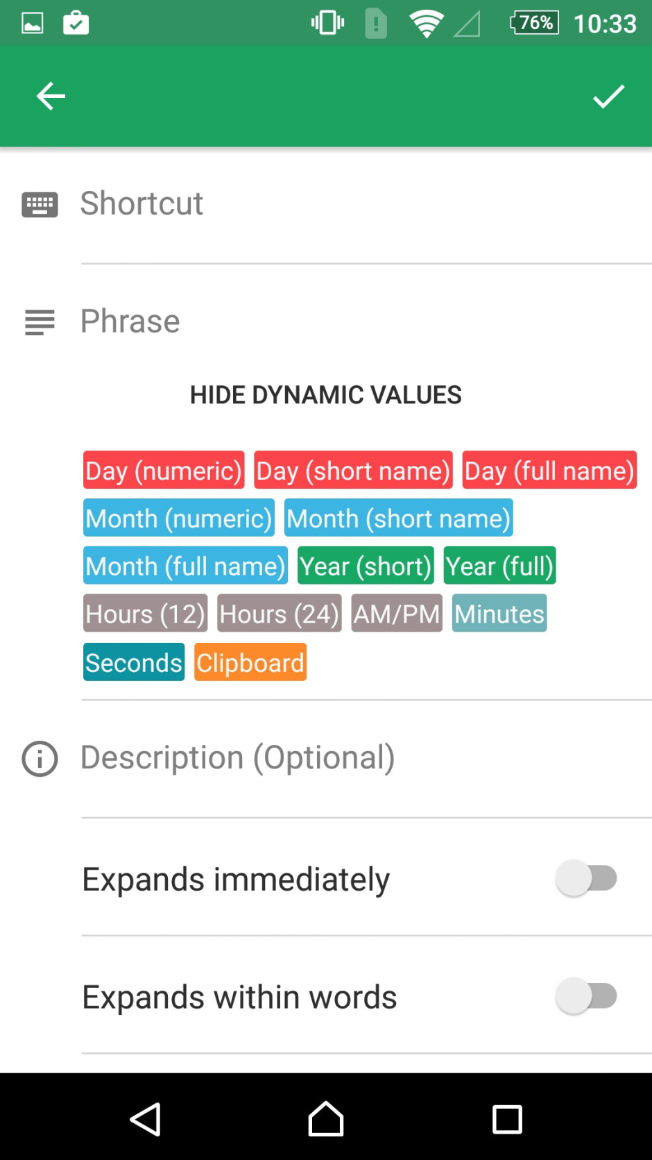 Expanding texts, one label at a time. - Spotlight: Textpand for Android lets you assign shortcuts to your favorite text phrases