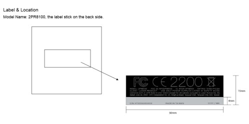 FCC label and placement for the Vive Control Box