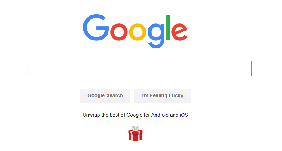 Google promotes its Android and iOS apps on its homepage