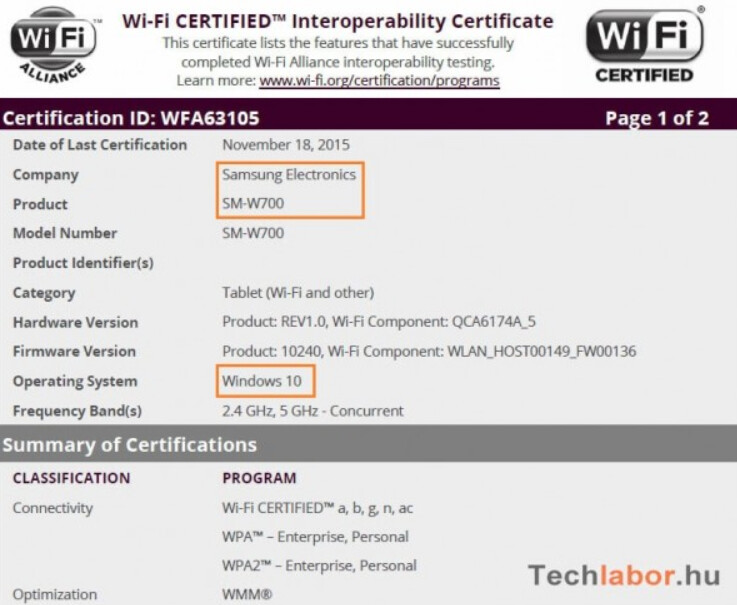 SM-W700 is certified by the Wi-Fi Alliace...