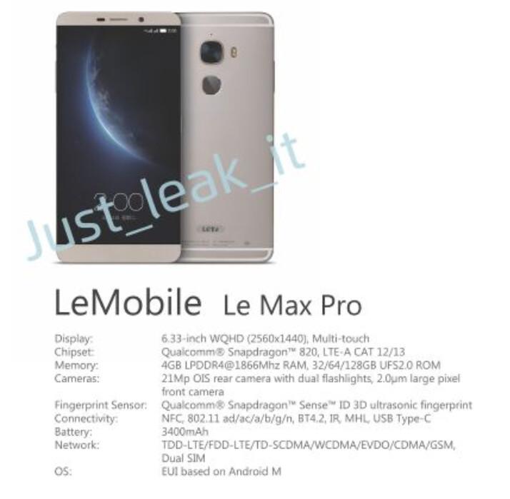 New details leak about highly-spec'd LeTV LeMax Pro