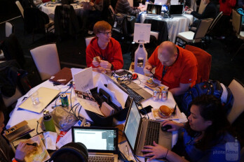 Developers from the University of Washington at Tacoma take turns refueling and coding while the marathon hackathon gets underway at the AT&T Developer Summit