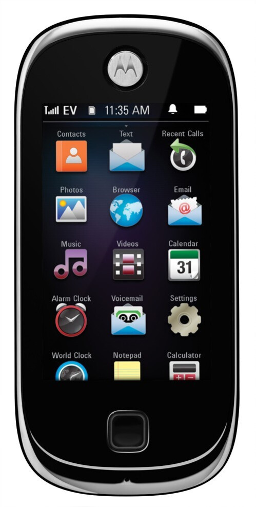 The Evoke QA4 has a numeric keypad, in addition to the 2.8-inch touchscreen - Motorola goes touchscreen with the Evoke QA4