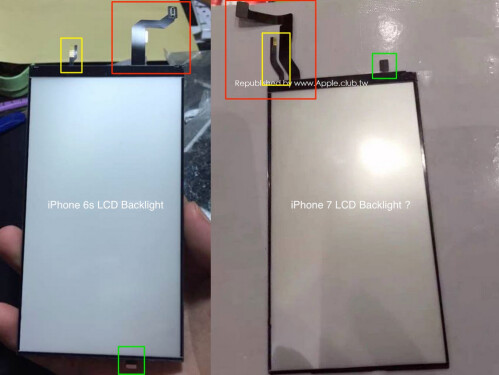 Apple iPhone 6s backlight on left, alleged Apple iPhone 7 backlight on right