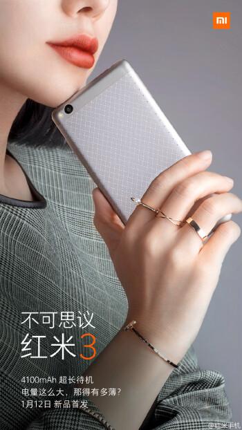 "Xiaomi confirms unprecedented 4100 mAh battery for the 5"" Redmi 3"