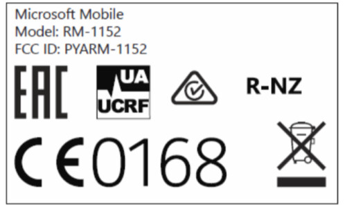 The FCC label for the Lumia 650