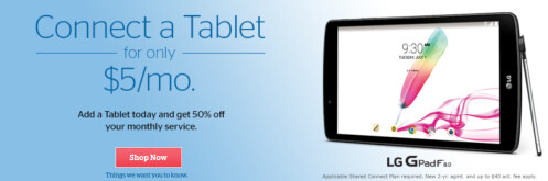Add a tablet to your current shared data plan for just $5 a month