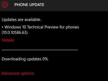 Windows 10 Mobile 10586.63 is pushed out to the fast ring by Microsoft