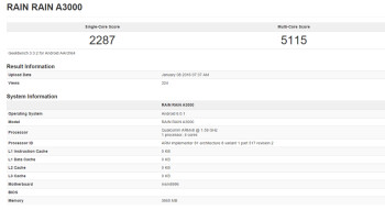 Geekbench test of unknown device shows a Revision 2 of the Snapdragon 820 chipset