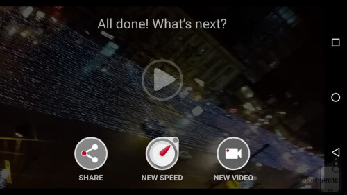 After you've stopped recording and the hyperlapse video is ready (it's created automatically), you can share it on social media, change its speed, or start making a new video.