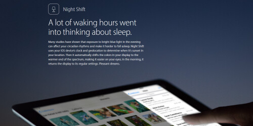 Night Shift adjusts your screen to make it easier on your eyes during the evening