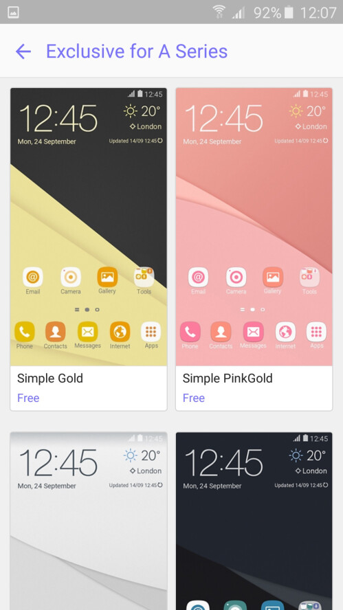 Some of Samsung's Galaxy A (2016) themes