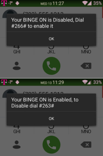 T-Mobile subscribers can use self-service codes to enable or disable Binge On