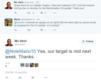 HTC's Mo Versi reveals that the Sprint branded HTC One M9 will receive Android 6.0 in the middle of next week