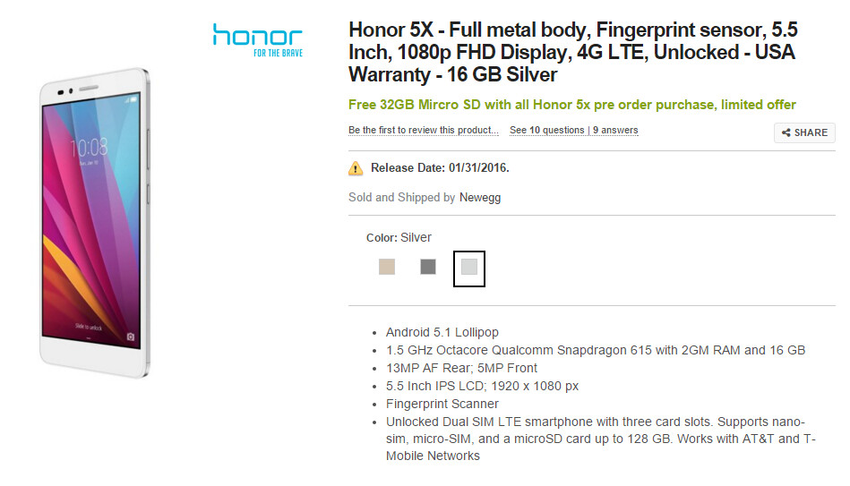 Pre-order the honor 5X now from Newegg...