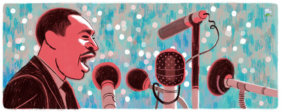 Google's MLK doodle - Apple fully transforms its home page in tribute to Martin Luther King, Google has a doodle