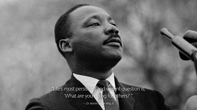 Apple.com on Martin Luther King day - Apple fully transforms its home page in tribute to Martin Luther King, Google has a doodle