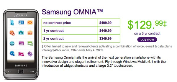Samsung Omnia now offered by Telus
