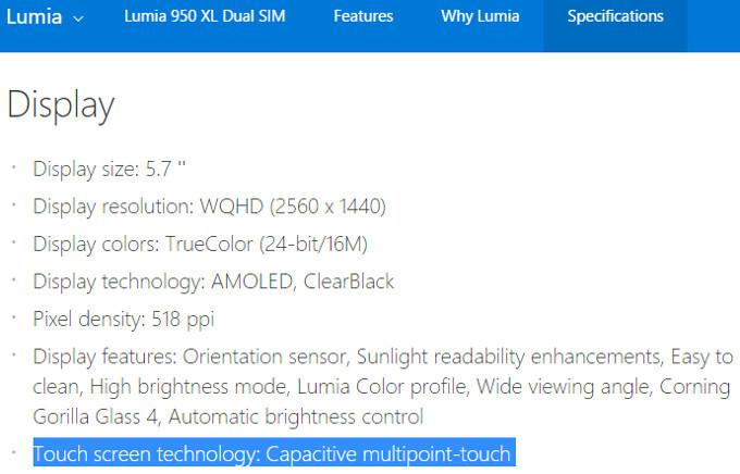Lumia 950, Microsoft's Specs page - The Microsoft Lumia 950's Super sensitive touch screen – neither super, nor that sensitive?