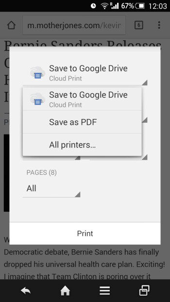 Save as PDF in Print menu on Android Chrome
