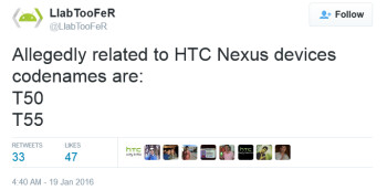 HTC's rumored Nexus devices are allegedly codenamed T50 and T55
