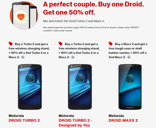 Buy a Droid Turbo 2 or Droid Maxx 2, get 50% off a second Motorola phone