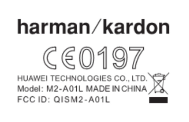 FCC label for the Huawei MediaPad M2 10.0