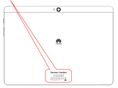 Placement of the FCC label on the tablet