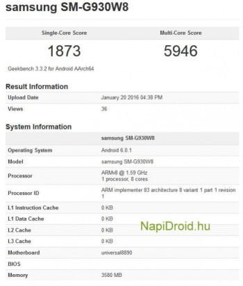 Samsung Galaxy S7 goes through the Geekbench benchmark test