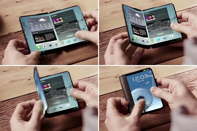 Samsung's concept for a folding-screen smartphone - IHS: foldable smartphones won't hit the market until early 2017