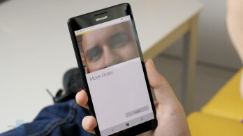 Iris scanning in action on the Lumia 950 XL.