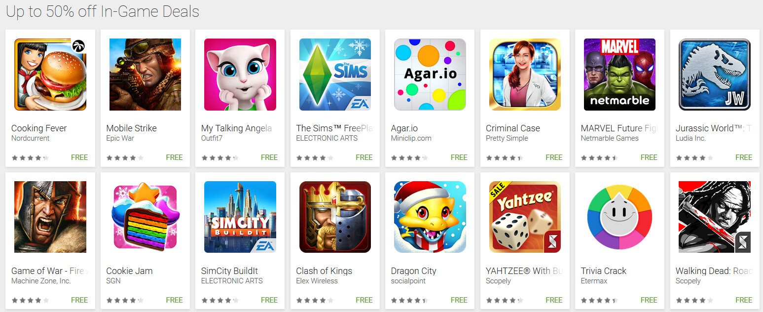 57 freemium games from the google play store come with as Play store app