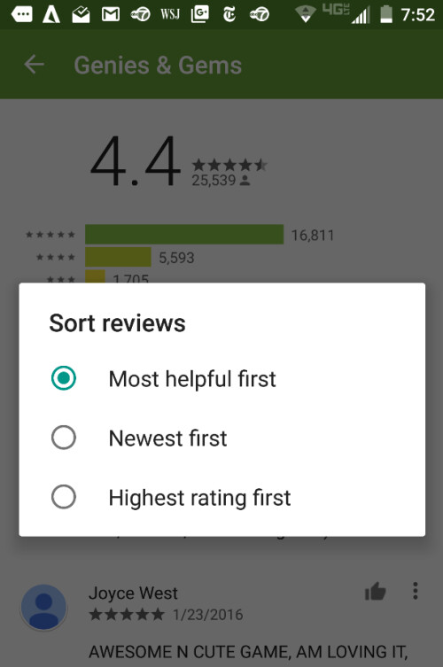 Reviews can be sorted in different ways